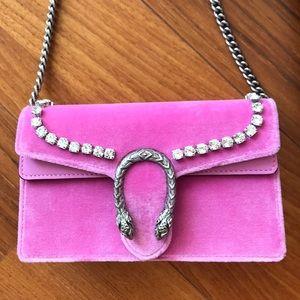 Gucci pink velvet super mini chain bag